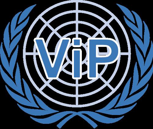 Het logo van Werkgroep ViP Almere met de naam in de lauwerkrans van de Verenigde Naties.