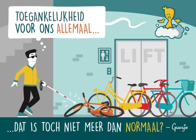 Een Guusje tekening van een blinde man die struikelt over verkeerd geplaatste fietsen.
