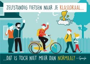 Een Guusje tekening met een jongen op een driewieler die zo zelfstandig naar school kan fietsen.
