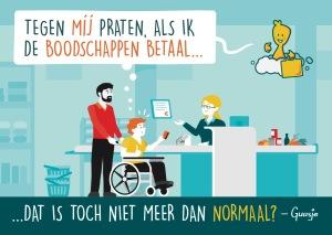Een Guusje tekening met een caissière die tegen de begeleider praat, maar niet tegen de jongen in de rolstoel.