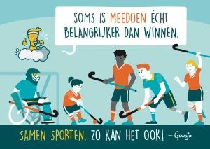 Een Guusje tekening met een hockeywedstrijd waar jongens en meiden met en zonder beperking in meespelen.