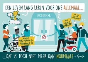 Een Guusje tekening met een school die gesloten is voor mensen met een beperking.