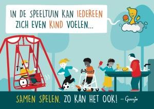 Een Guusje tekening met een aangepaste speeltuin waar kinderen met en zonder beperking samen kunnen spelen.