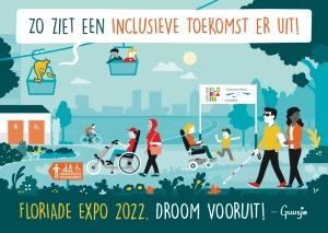 Een Guusje tekening met de Floriade 2022 en mensen met een beperking die er makkelijk hun weg vinden.