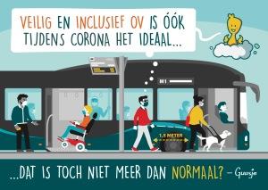 Een Guusje tekening met een bus waar ook mensen met een beperking veilig op anderhalve meter kunnen instappen.