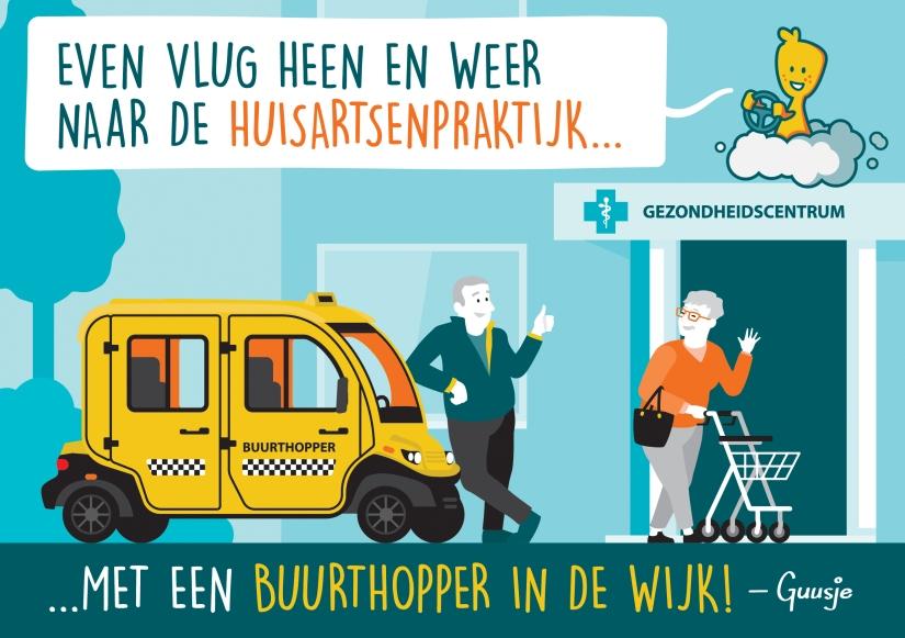 Guusje tekening over Buurthopper wijkvervoer
