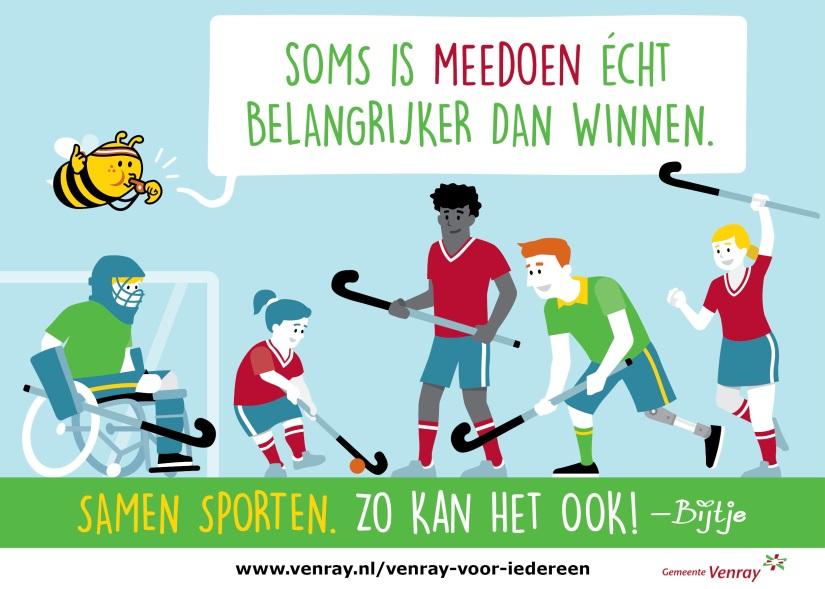 Een Bijtje tekening met een hockeywedstrijd waar jongens en meiden met en zonder beperking in meespelen.