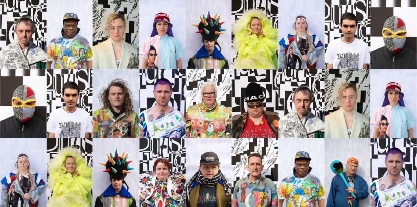 Een collage van pasfoto's van Outsider kunstenaars